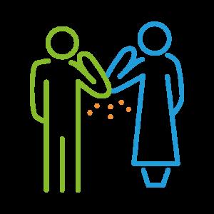 Auf dem Piktogramm sieht man einen Mann und eine Frau. Die beiden haben ihre einander zugewandten Arme gebeugt und berühren sich gegenseitig mit den Ellenbogen. Von dem Berührungspunkt aus gehen kleine orangene Punkte nach unten.