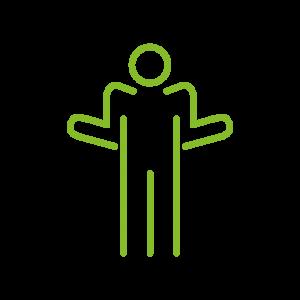 Auf dem Piktogramm sieht man eine Person, die die Schultern hochgezogen hat. Die Person hat die Oberarme eng am Körper und die Unterarme vom Körper weggebeugt.